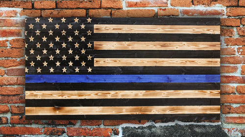 Thin Blue Line Rustic Wooden Flag