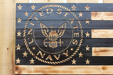 U.S. Navy Rustic Wooden Flag