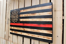 Firefighter Rustic Wooden Flag