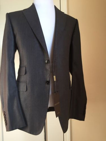 New $3255 Gucci Silk- Wool Suit Gray 42R US ( 52R Eu) Switzerland - BAYSUPERSTORE