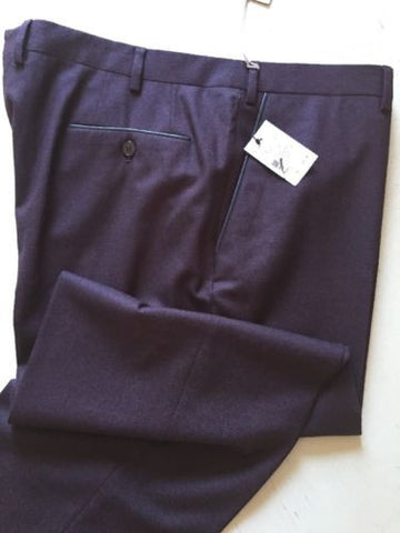 New $895 Brioni Mens Dress Pants Wool-Leather Size 42 US Burgundy Italy - BAYSUPERSTORE
