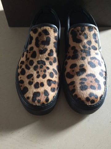 New $595 Gucci Men's Leopard Print Colf Hair Sneakers 7.5G ( 8 US ) Italy - BAYSUPERSTORE
