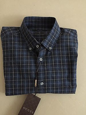 Gucci Slim Fit Dress Shirt Blue 16 /41 NWT $565 Made in Italy - BAYSUPERSTORE