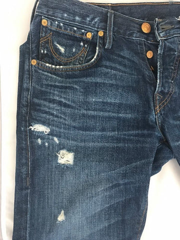 True Religion Men`s Denim Blue Jeans Size 32 Made In USA - BAYSUPERSTORE