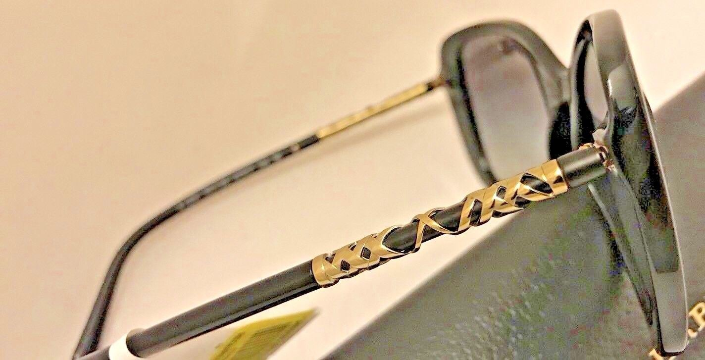 NWT Burberry Sunglasses B4238 3001/8G Black/Gold Frame with Grey Gradient Lenses - BAYSUPERSTORE