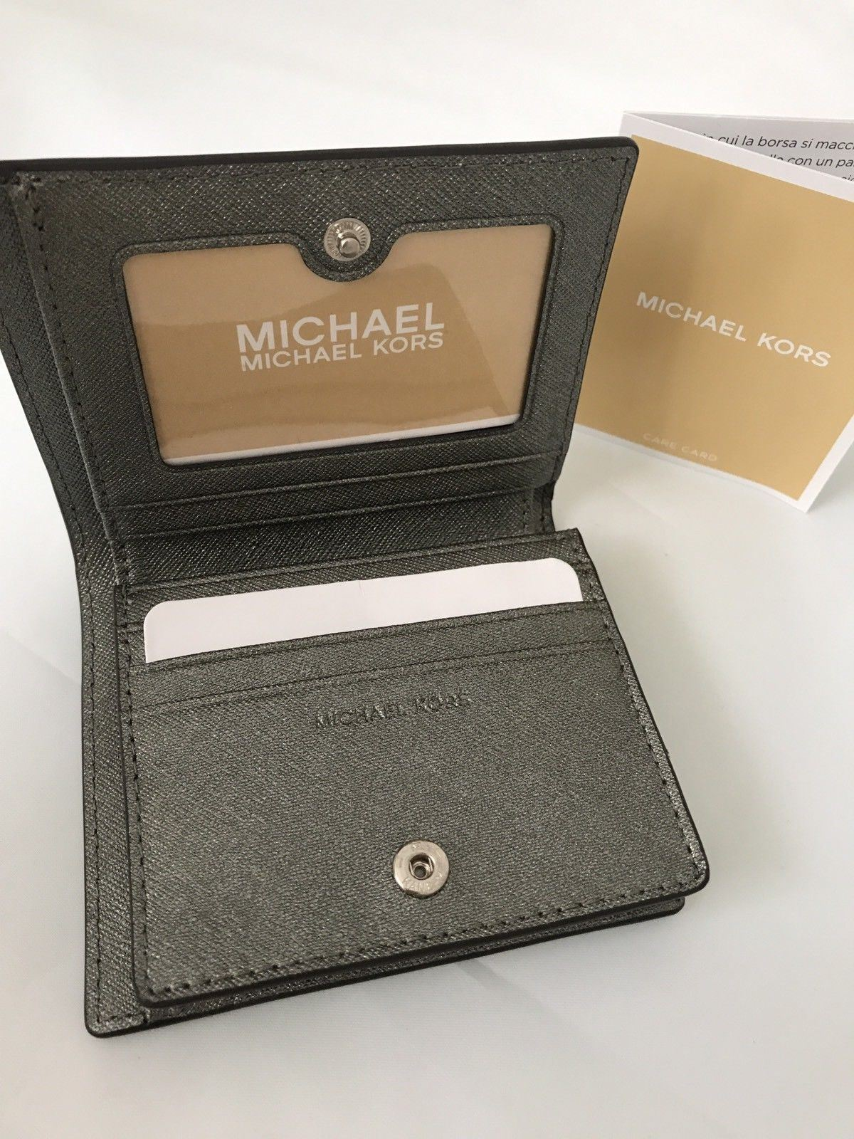 NWT Retail $78 Michael Kors  Metallic  Pewter Flap Card Holder - BAYSUPERSTORE