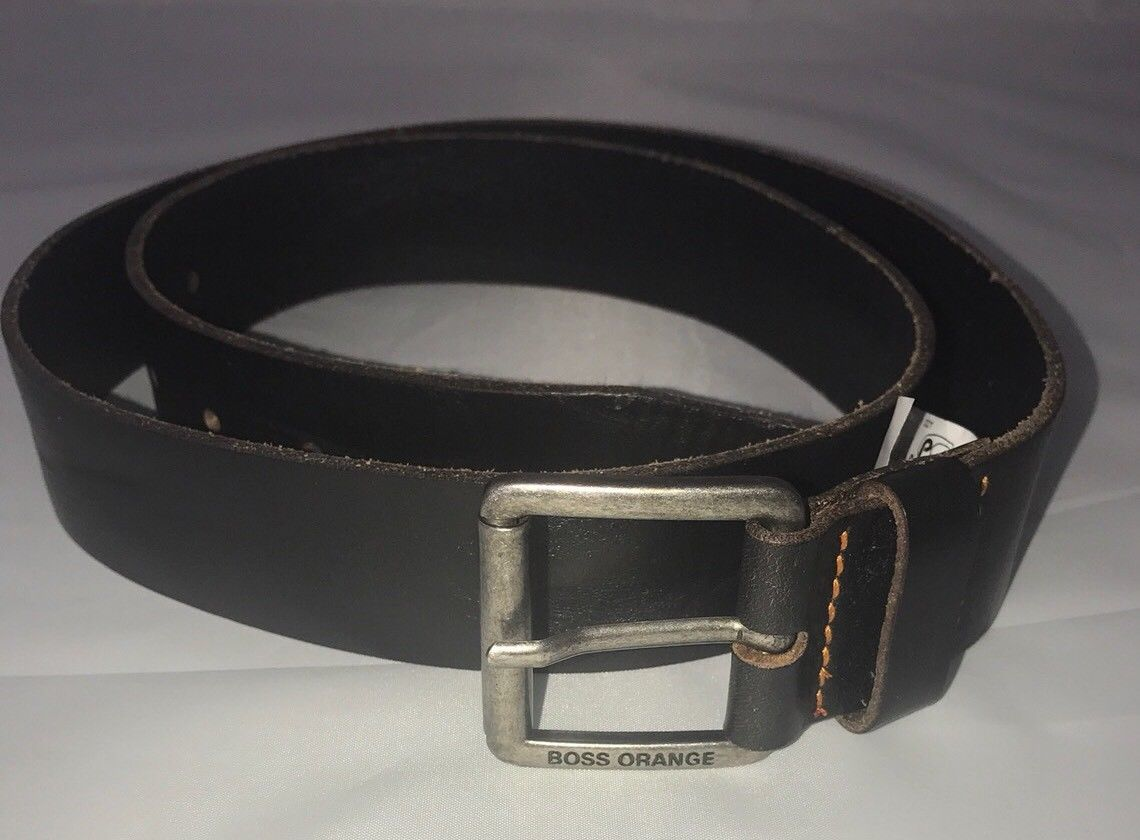 NWT BOSS Hugo Boss Milok-X Genuine Leather Belt Size 38/100 Handmade in Italy - BAYSUPERSTORE