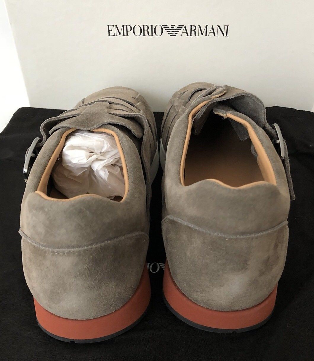 NIB $525 Emporio Armani Men's Suede Loafer Sneakers Brown 9 US X4L039 Spain - BAYSUPERSTORE