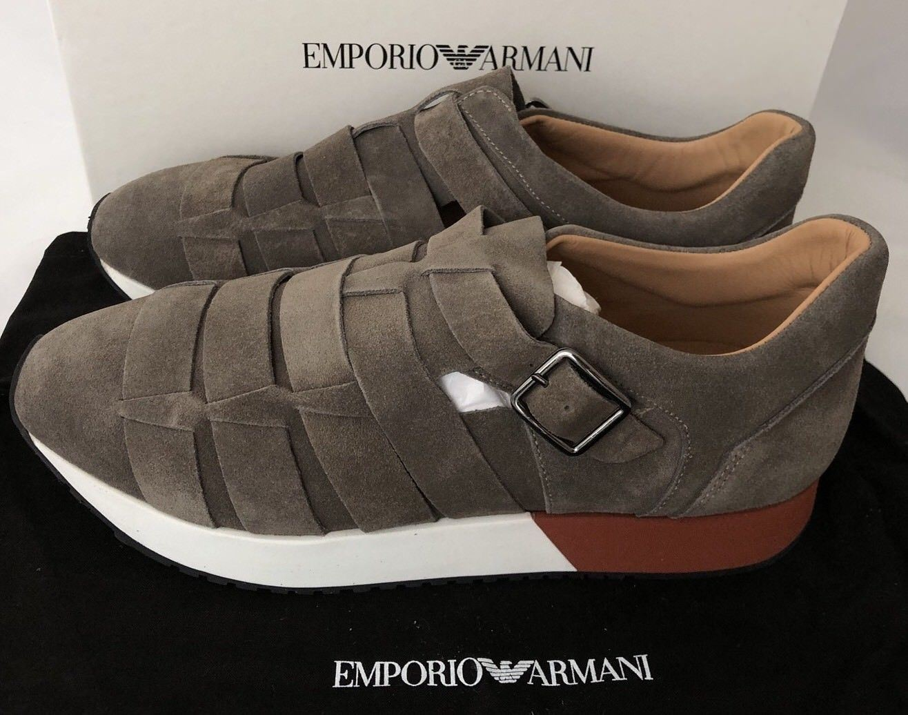 NIB $525 Emporio Armani Men's Suede Loafer Sneakers Brown 10.5 US X4L039 Spain - BAYSUPERSTORE