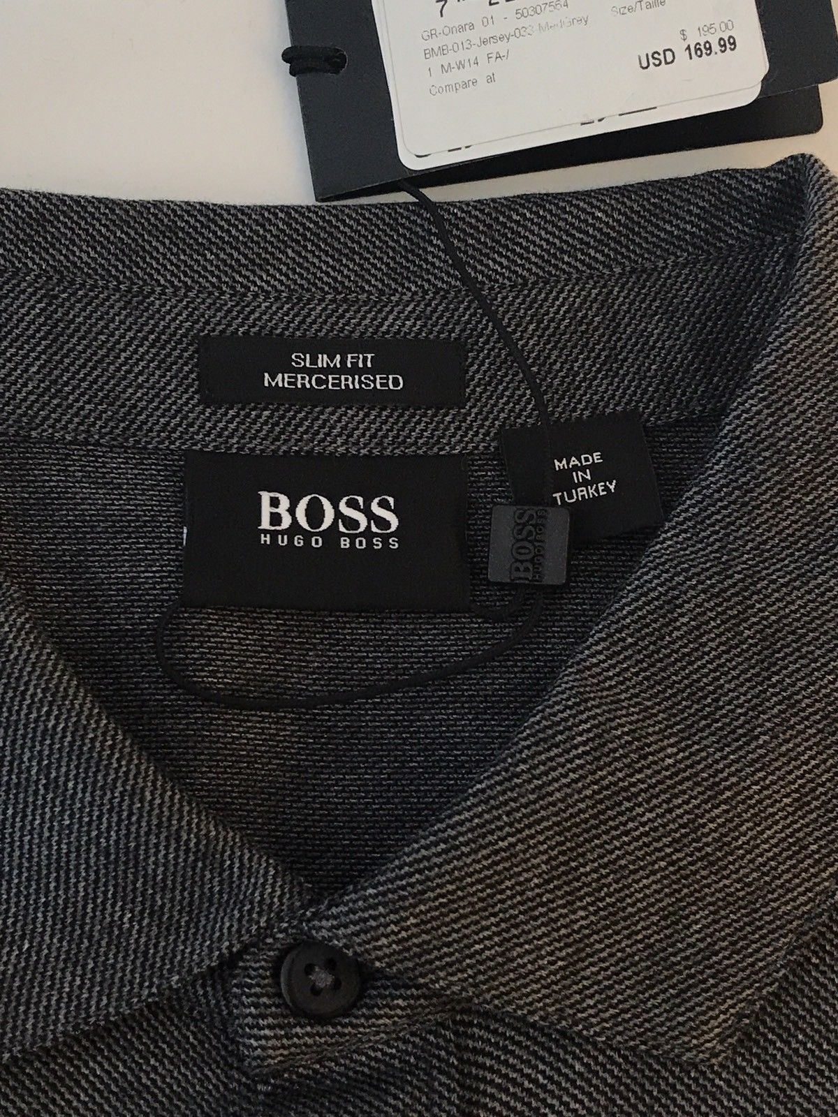 NWT $195 BOSS Hugo Boss 'Onara-01' Black Label Long Sleeve Slim Fit Gray Shirt L - BAYSUPERSTORE