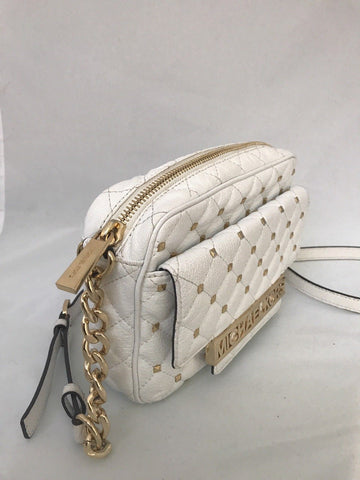 Michael Kors Kim Studded Quilted Large Optic White Leather Messenger GD