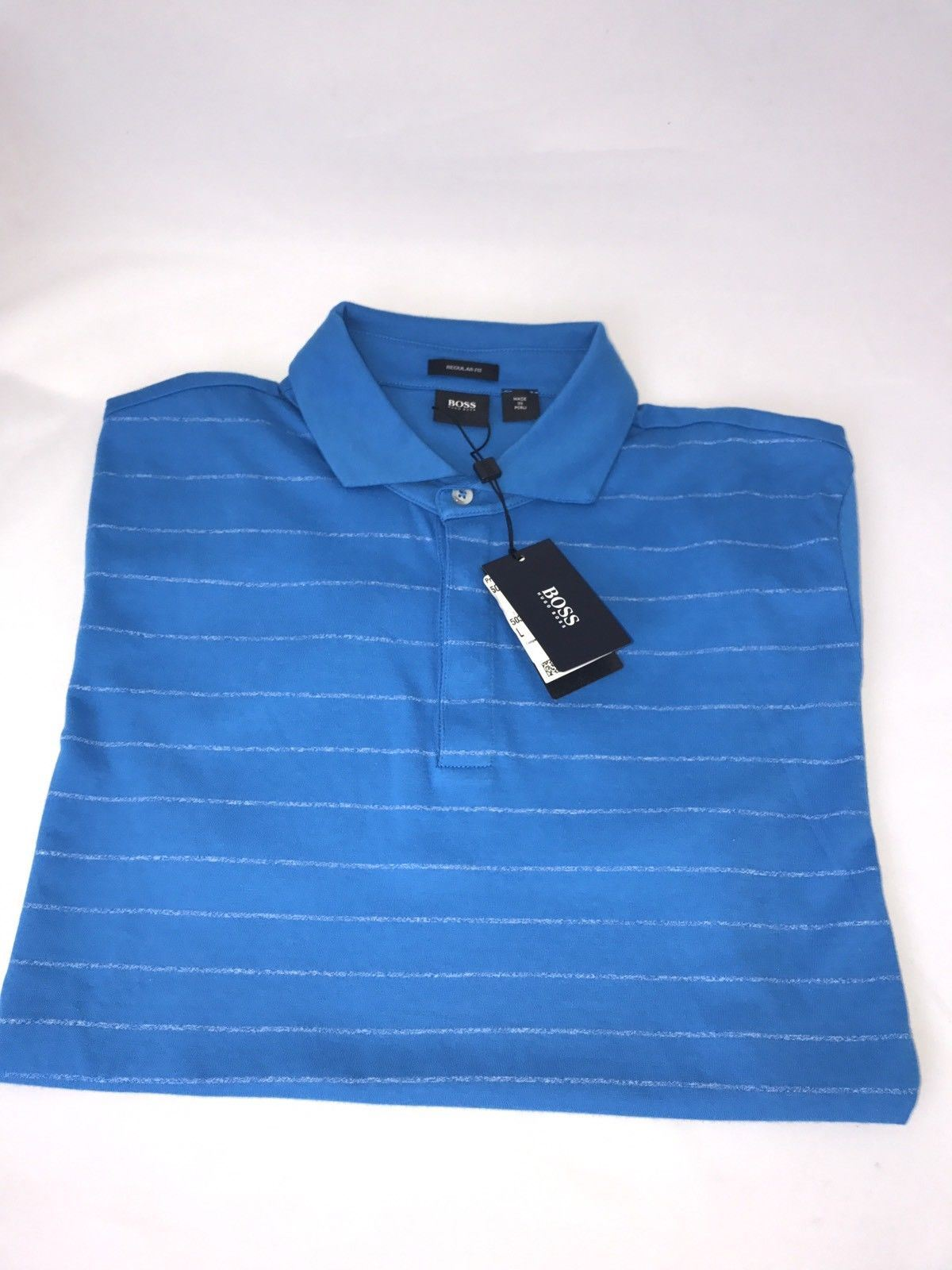 NWT $135 BOSS Hugo Boss  Press 01 Regular Fit Polo Shirt L Blue - BAYSUPERSTORE