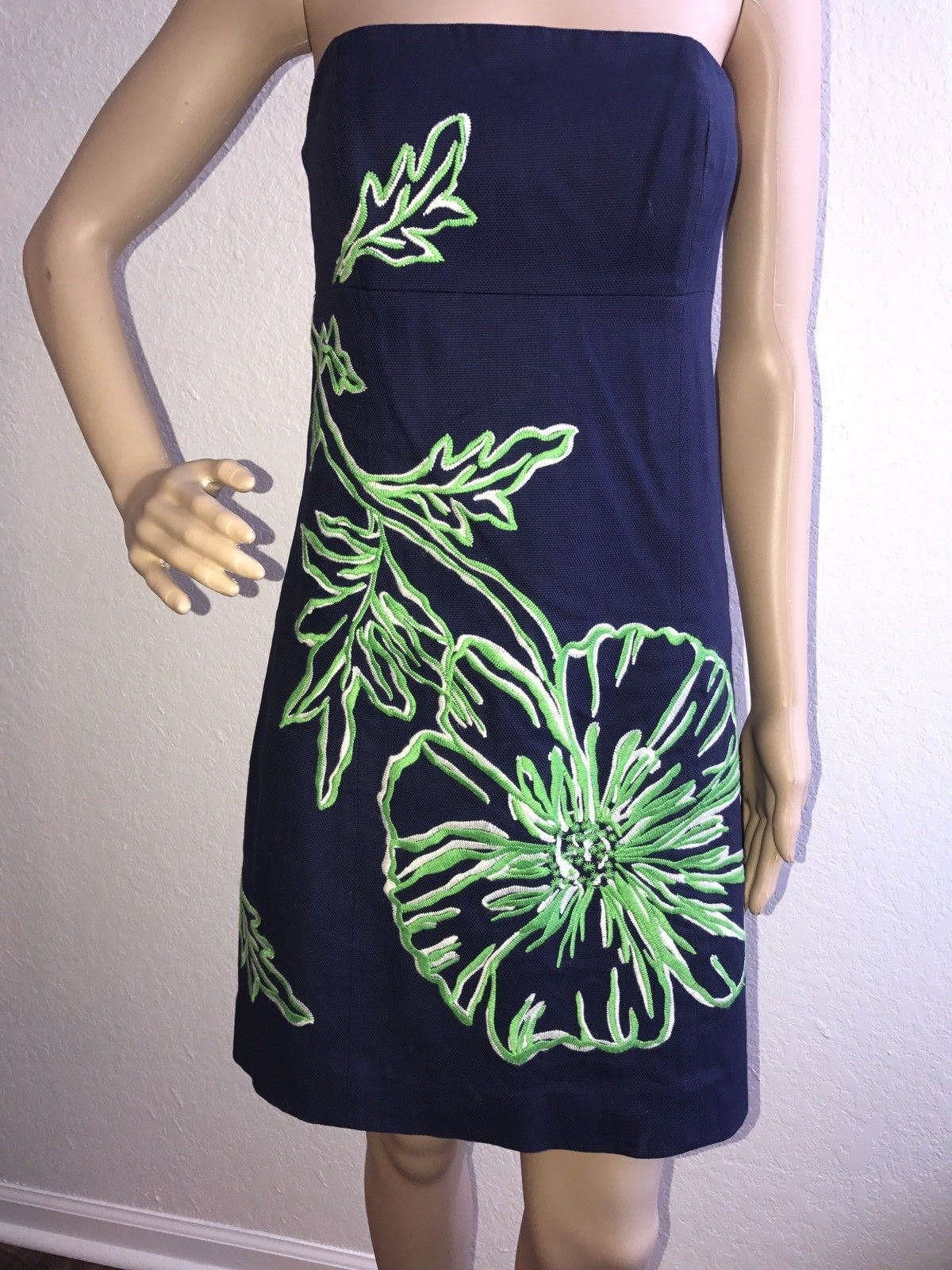 Lilly Pulitzer Blue with Green Flowers dress Size 2 - BAYSUPERSTORE