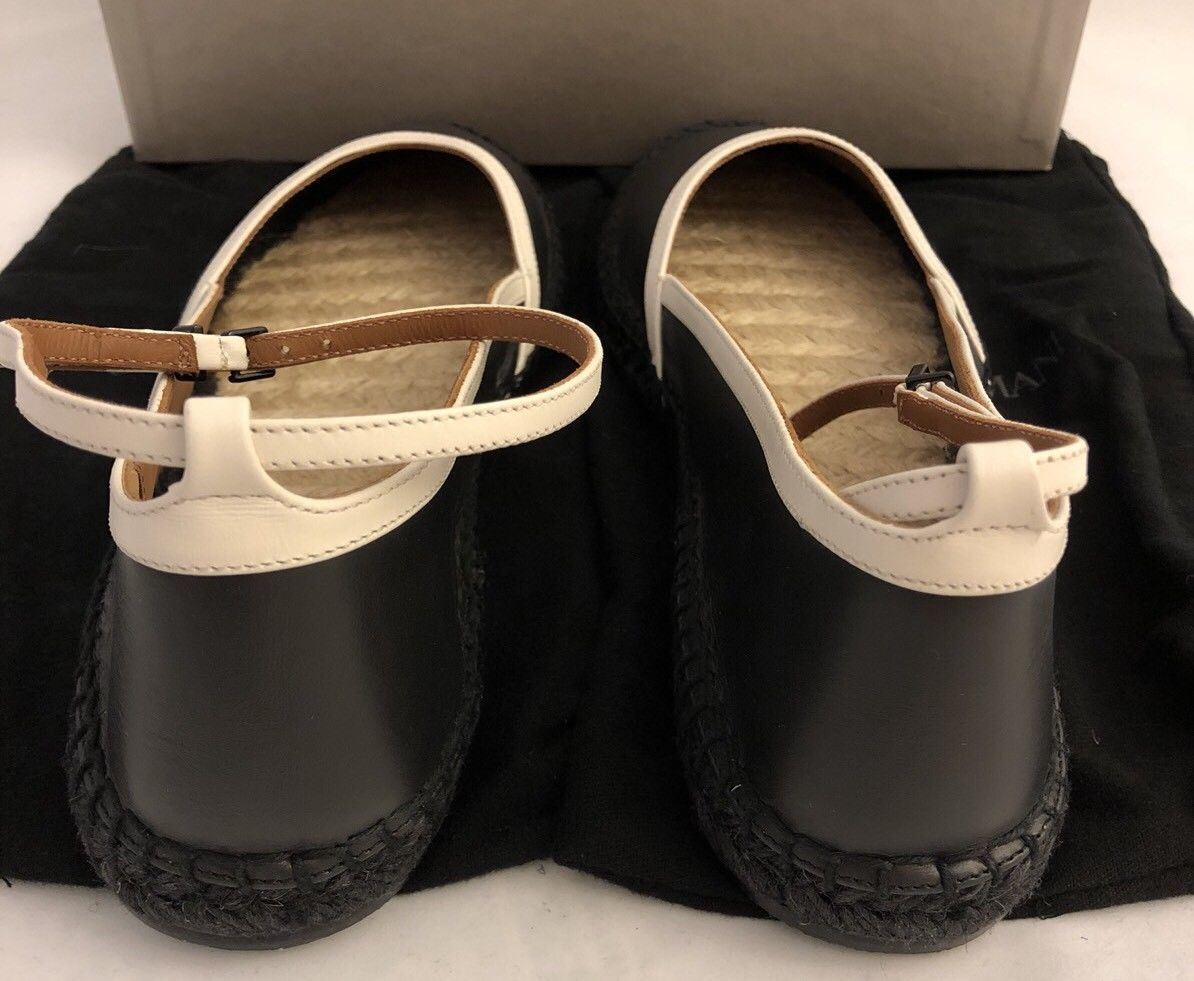 NIB $425 Giorgio Armani Leather Women's Black Ankle Strap Flats 9 US X1S010 - BAYSUPERSTORE