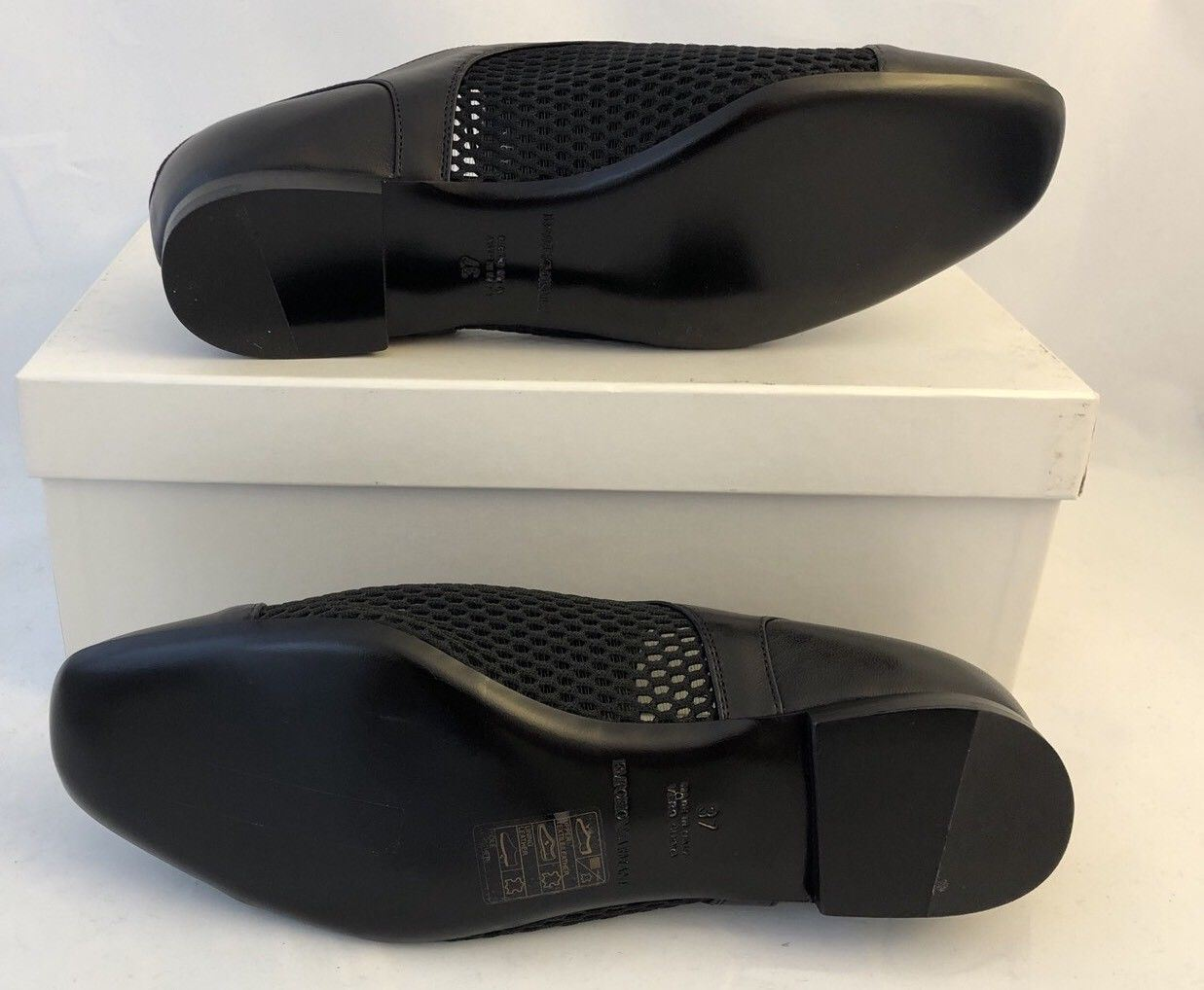 NIB $525 Emporio Armani Leather Women's Black Summer Flats 7 US X3C117 - BAYSUPERSTORE