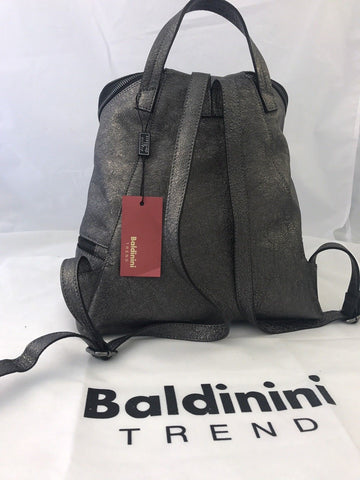 NWT $489 Baldinini Trend Dark Gray Shiny Leather Backpack Made In Italy