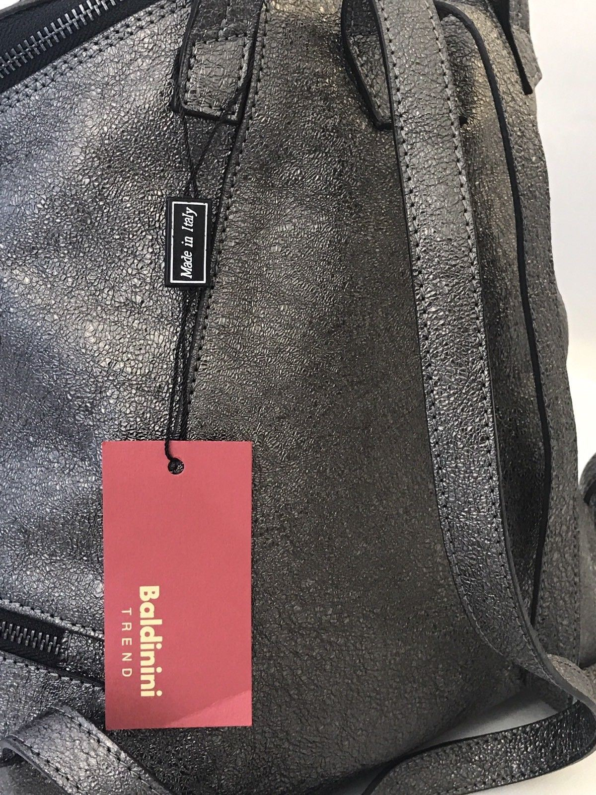 NWT $489 Baldinini Trend Dark Gray Shiny Leather Backpack Made In Italy - BAYSUPERSTORE