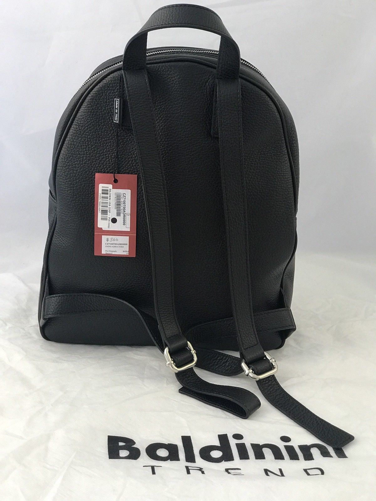 NWT $459 BALDININI TREND ZAINO ADRIA NERO LEATHER BACKPACK Made In Italy - BAYSUPERSTORE