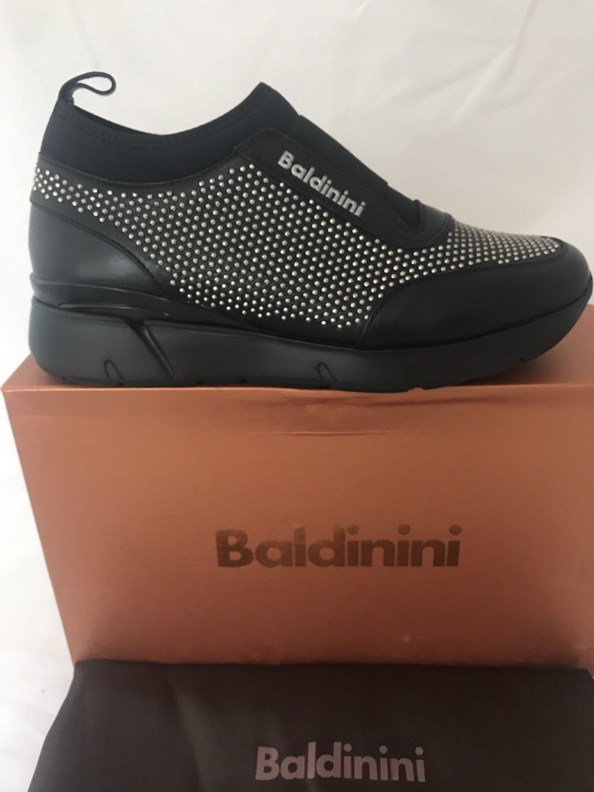 NIB $580 Baldinini Women's  Studded Sneakers  748465 Black 37.5 Eu Made in Italy - BAYSUPERSTORE