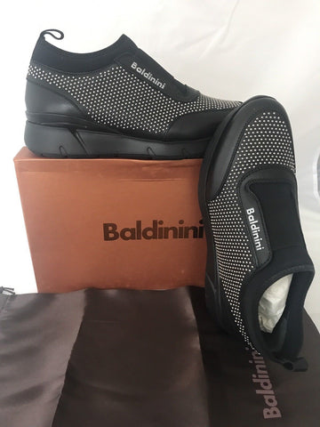 NIB $580 Baldinini Women's  Studded Sneakers 748465  Black 37 Eu Made in Italy - BAYSUPERSTORE