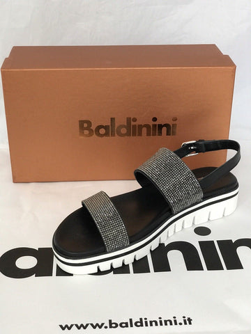 NIB $449 Baldinini Women's Sandals Black 8 US (38.5 Eu) 799935 Made in Italy - BAYSUPERSTORE
