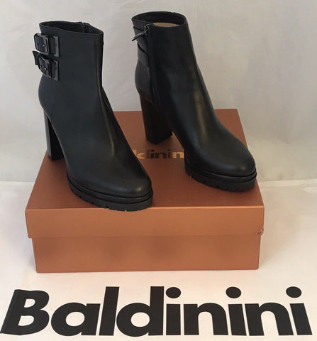 NIB $745 Baldinini Women's Black Platform Heeled Boots Shoes 38 Eu Italy 749820 - BAYSUPERSTORE