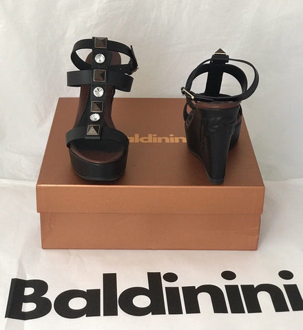 NIB $639 Baldinini Women's Wedges Sandals Black 8.5 US (39Eu) Italy 753063 - BAYSUPERSTORE