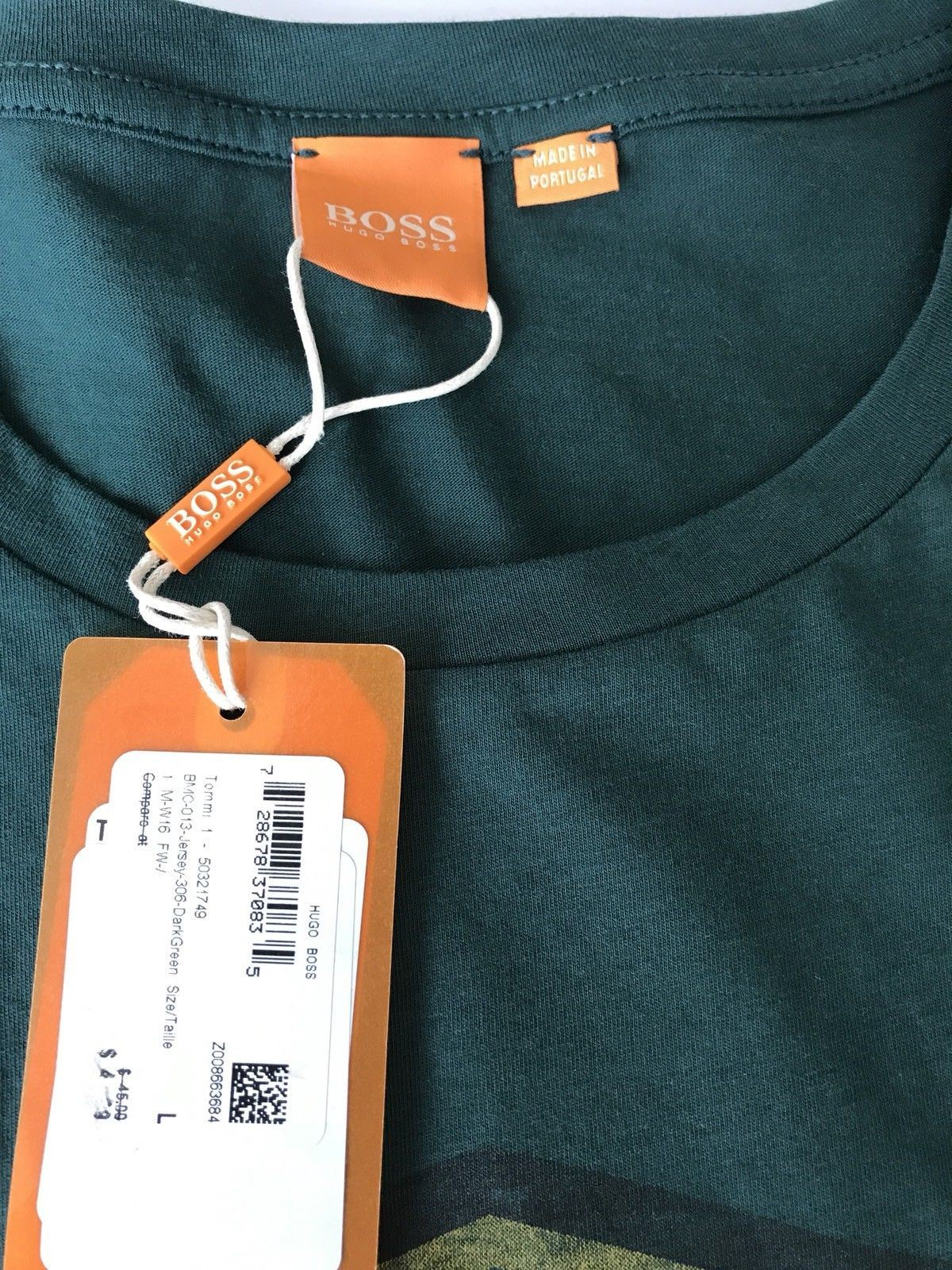 NWT $45  BOSS Hugo Boss Tommi1 Short Sleeve Graphic T-Shirt L Made In Portugal - BAYSUPERSTORE