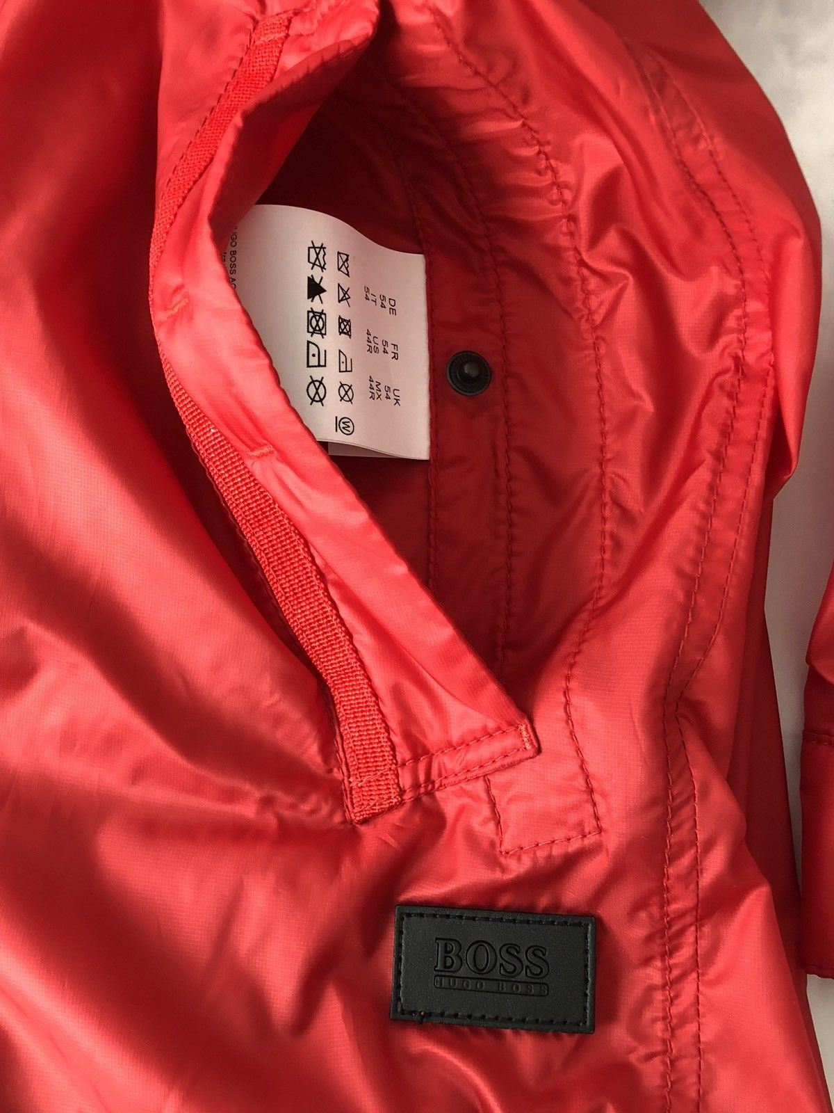 NWT $395 Boss Hugo Boss Black Label Colis Rain Jacket Bright Red Size 42R US - BAYSUPERSTORE