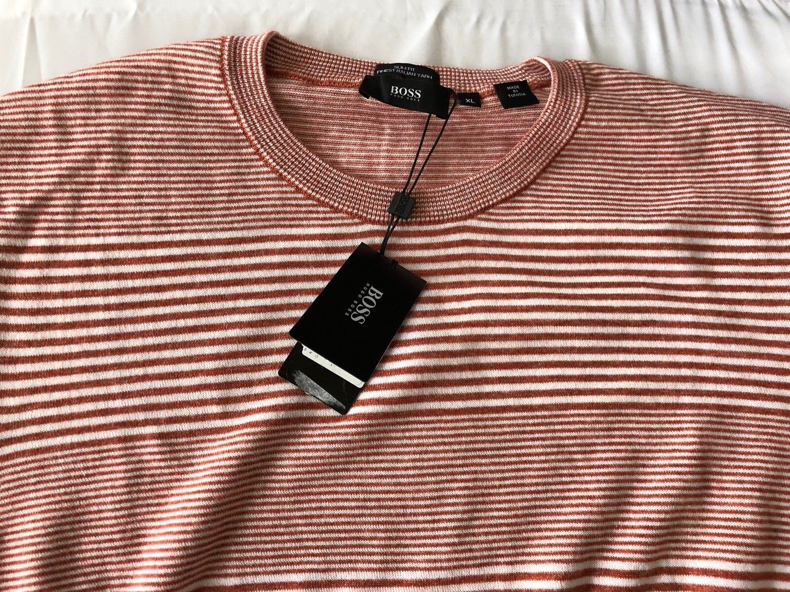 NWT $165 HUGO Hugo Boss 'Gabrian' Men's Crewneck Slim Fit Red Sweater XL - BAYSUPERSTORE