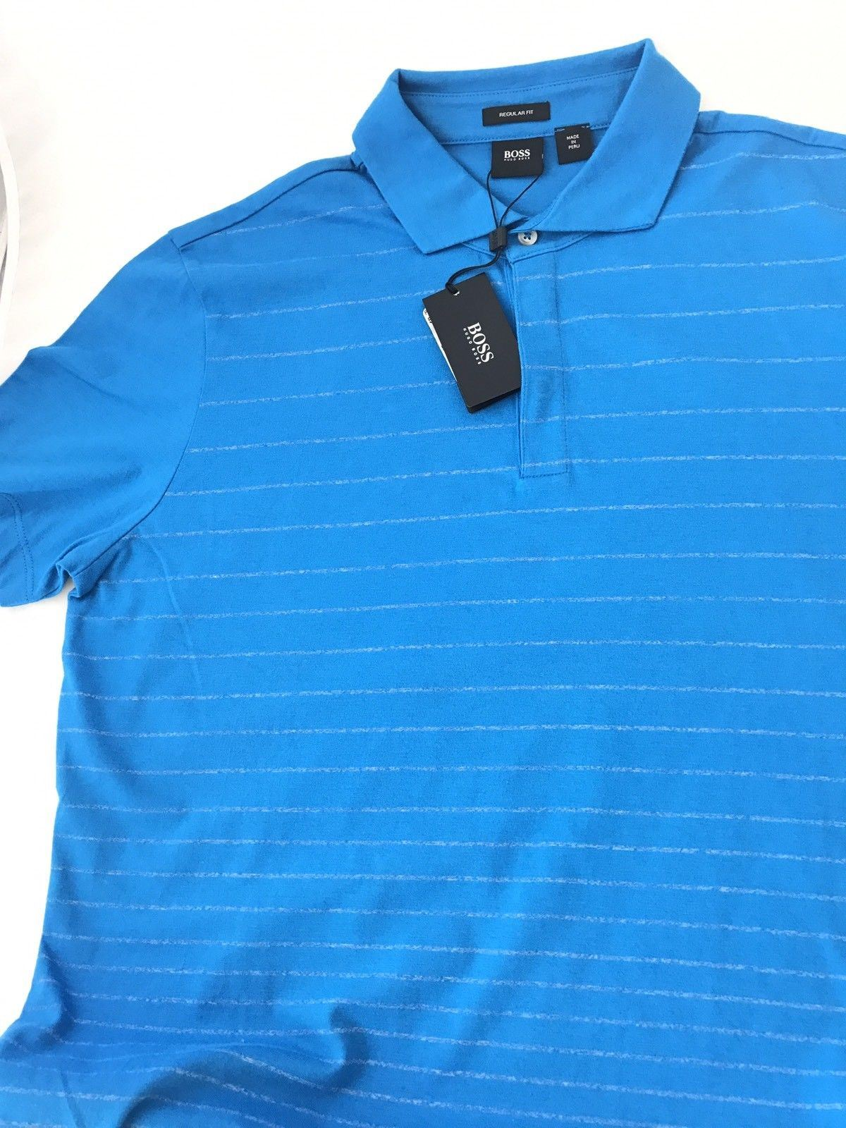 NWT $135 BOSS Hugo Boss  Press 01 Regular Fit Polo Shirt M Blue - BAYSUPERSTORE