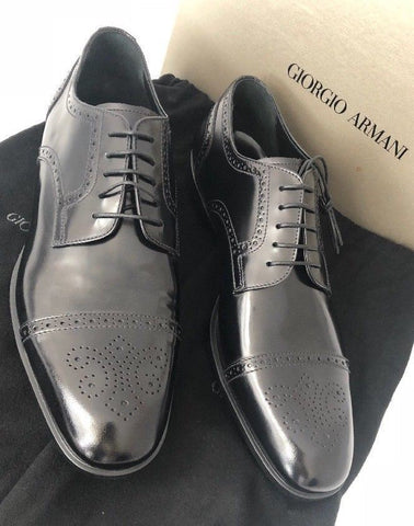 NIB $695 Giorgio Armani Leather Men's Black Derby Oxford Shoes 12.5 US X2C448 IT - BAYSUPERSTORE