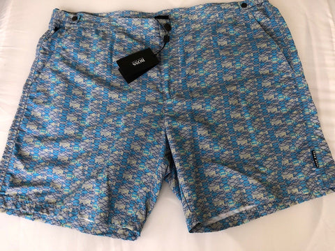 NWT $159 Boss Hugo Boss Tigerfish Mens Blue Swimsuit Shorts Size 2XL - BAYSUPERSTORE