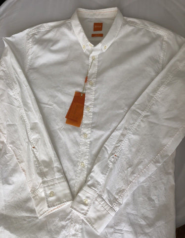NWT $125 Hugo Boss Mens Edipo Slim Fit White Modern Dress Shirt XL