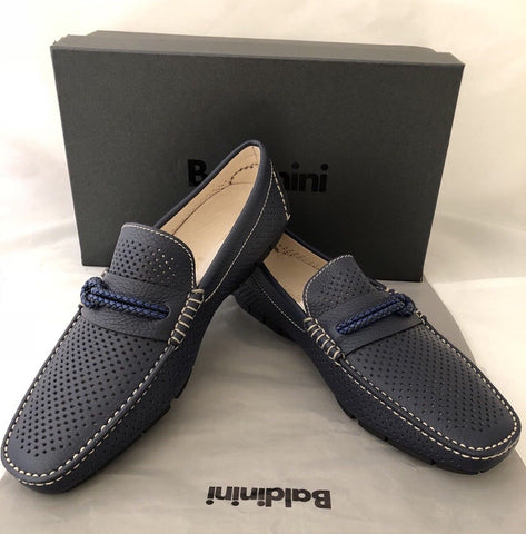 NIB $339 Baldinini Men's Leather Blue Driver Moccasins Shoes 10 US (43 Eu) IT