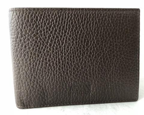 New Retail Price $295 Armani Collezioni Brown Pebbled Leather Bifold Wallet
