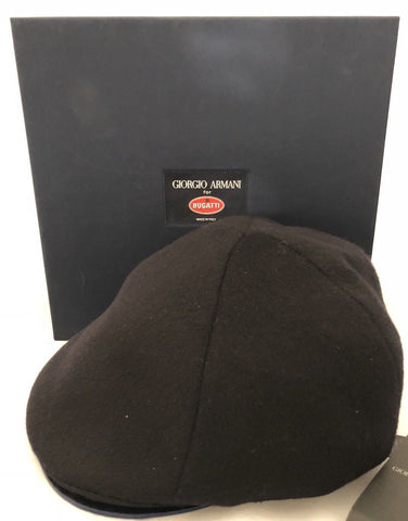 NWT $1795 Giorgio Armani Limited Edition for Bugatti Mens Hat 62/220 Black M - BAYSUPERSTORE