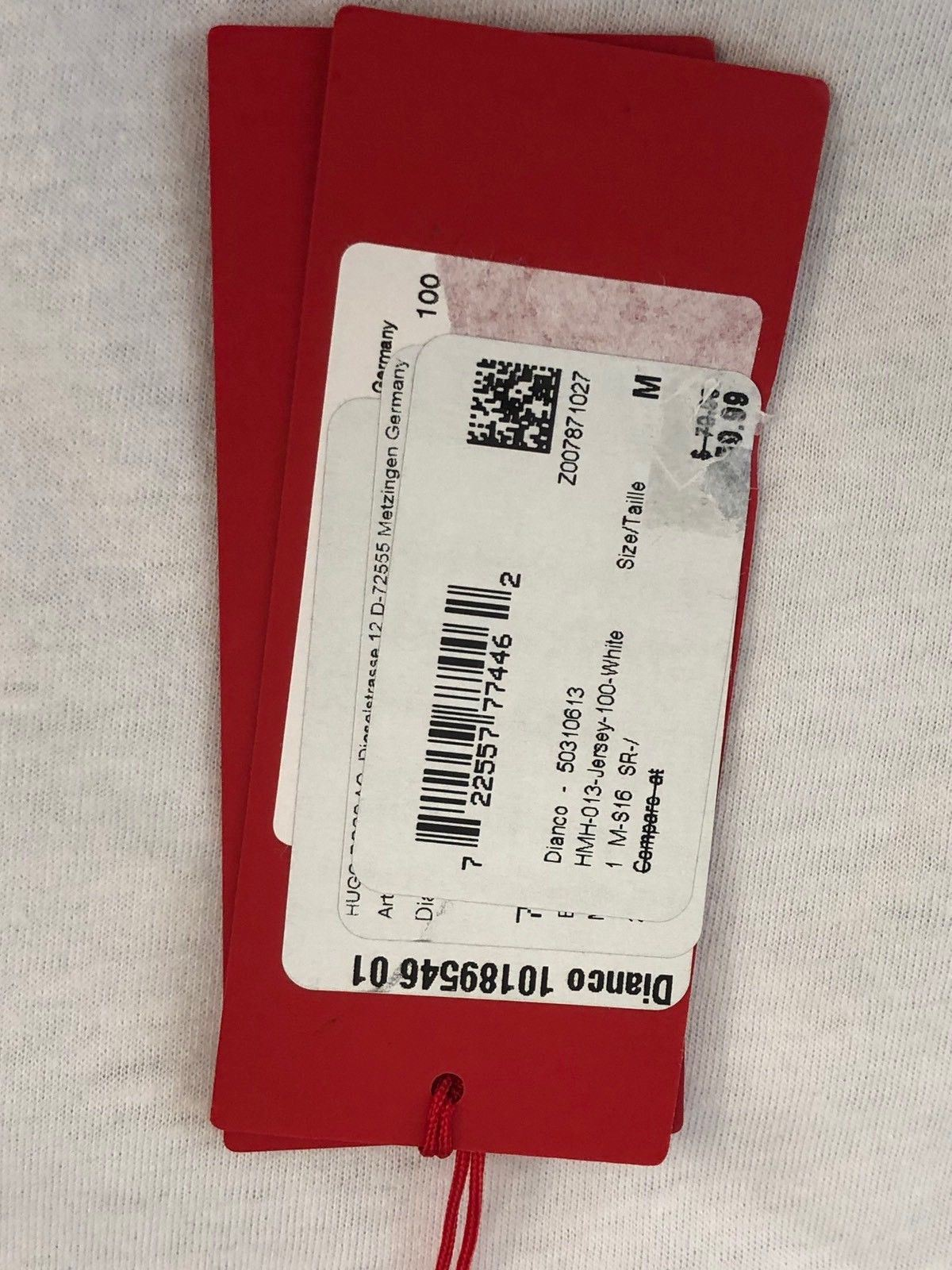 NWT $79.95 BOSS Hugo Boss Dianco Red Label Short Sleeve T-Shirt M White - BAYSUPERSTORE