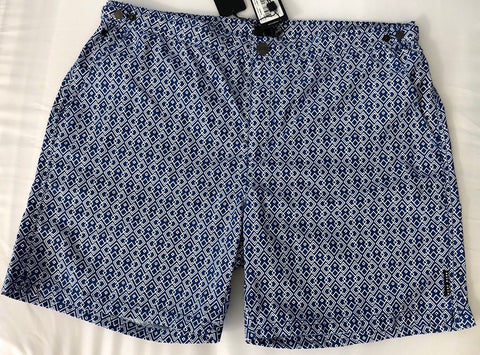NWT $159 Boss Hugo Boss Tigerfish Mens Quick Dry Blue Swimsuit Shorts Size M