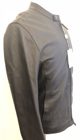 NWT $1595 Armani Collezioni Men's Blouson Lamb Leather Jacket Black 44 US RCR14P - BAYSUPERSTORE