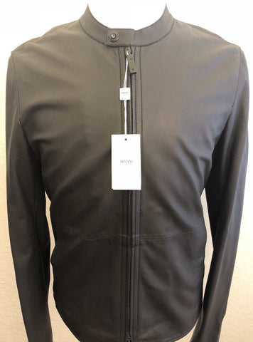 NWT $1595 Armani Collezioni Men's Blouson Lamb Leather Jacket Black 44 US RCR14P