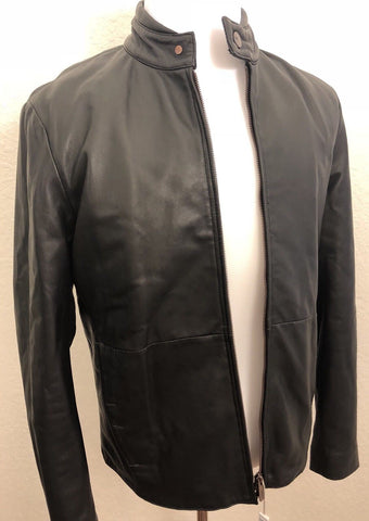 NWT $1595 Armani Collezioni Men's Blouson Lamb Leather Jacket Black 40 US PCR81P
