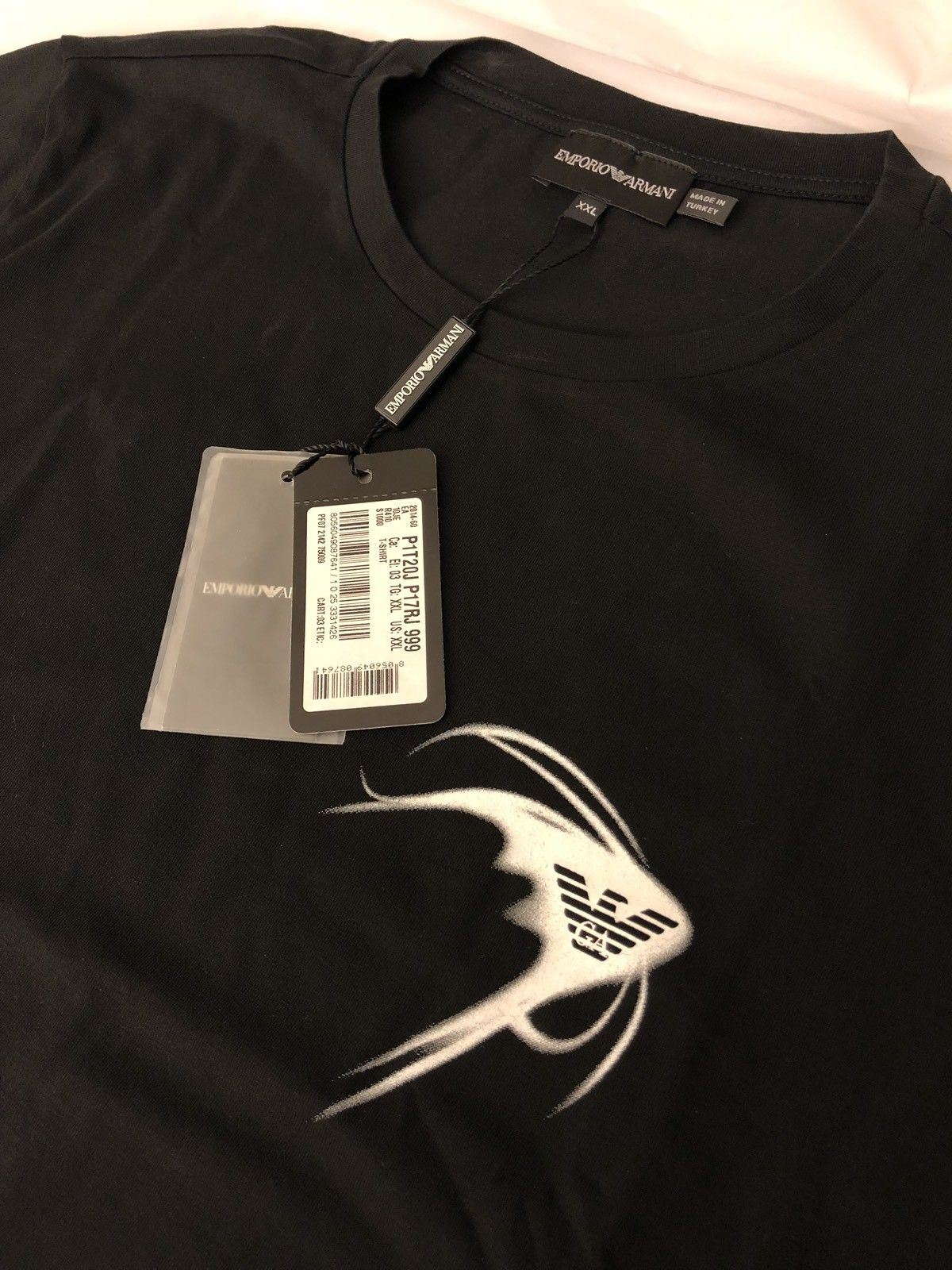 NWT $175 Emporio Armani Black Short Sleeve T-Shirt 2XL P1T20J - BAYSUPERSTORE