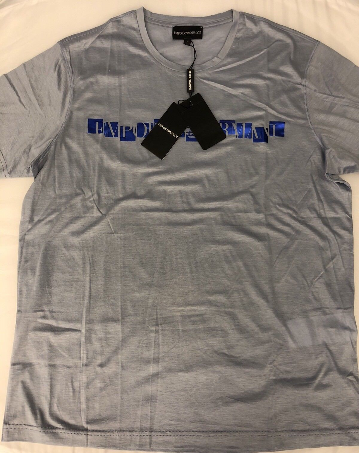 NWT $175 Emporio Armani Light Blue Short Sleeve T-Shirt Medium APH03 - BAYSUPERSTORE