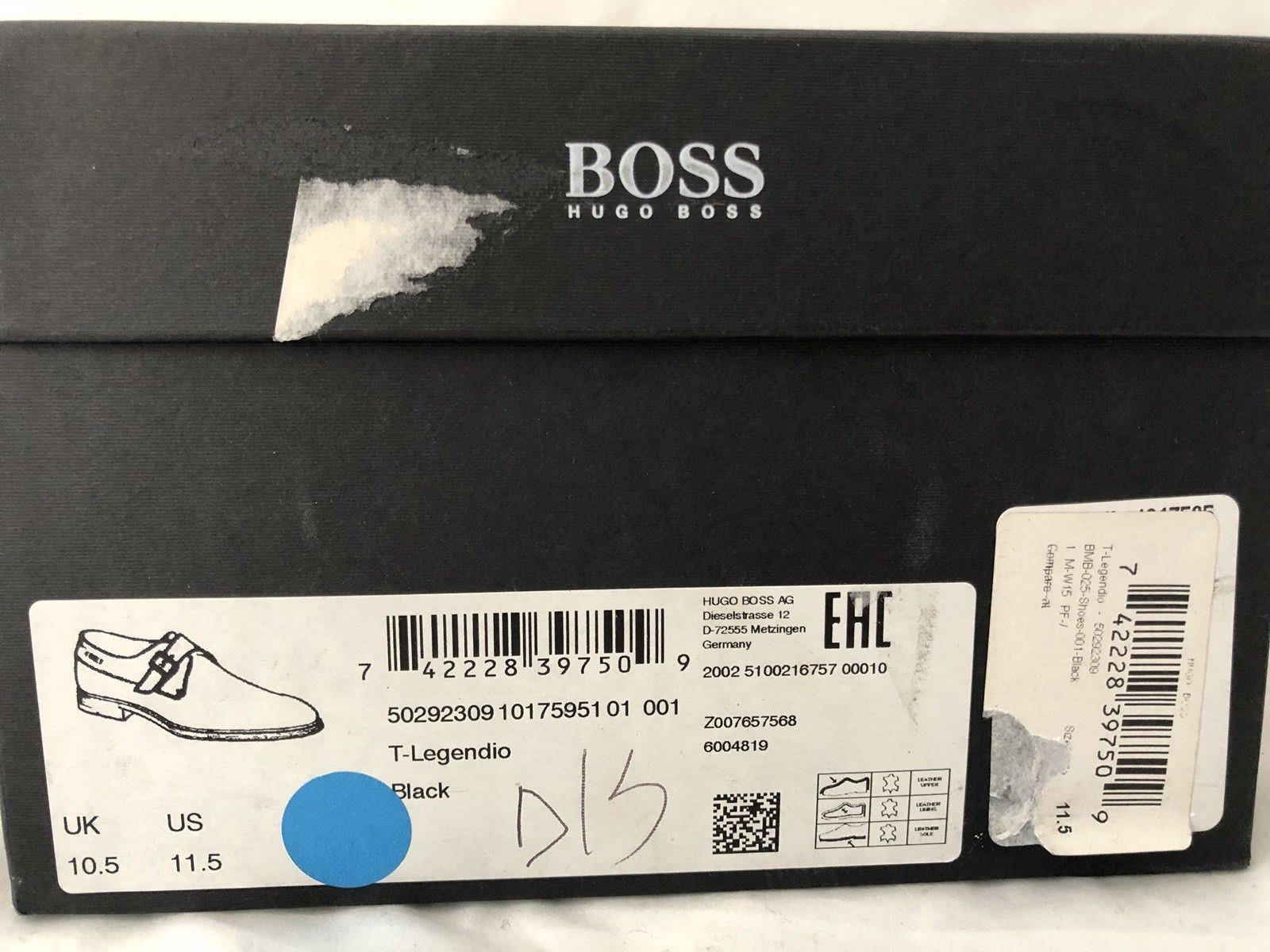 NIB $645 Boss Hugo Boss T-Legendio Tailored Mens Black Leather Shoes 11.5 US IT - BAYSUPERSTORE