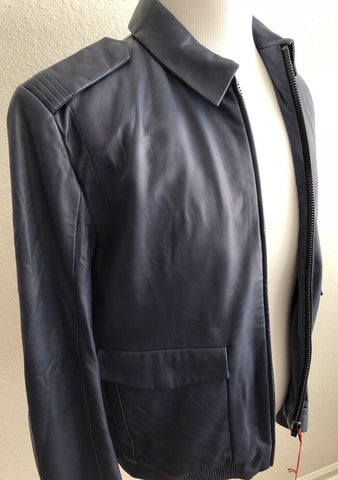 NWT $705 Boss Hugo Boss Lerko Mens Modern Blue Soft Leather Jacket XL