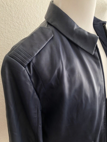 NWT $705 Boss Hugo Boss Lerko Mens Modern Blue Soft Leather Jacket M - BAYSUPERSTORE