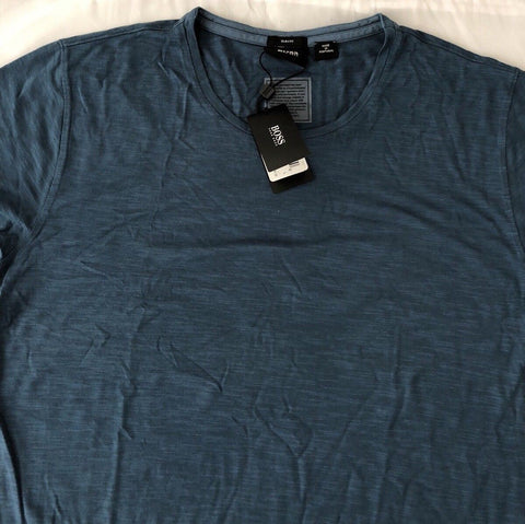NWT $105 BOSS Hugo Boss GR-Lecco 114 Short Sleeve Aqua Slim T-Shirt L Portugal