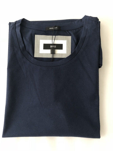 NWT $125 BOSS HUGO BOSS Tiburt07 Regular Fit Modern Short Sleeve Navy T-Shirt XL