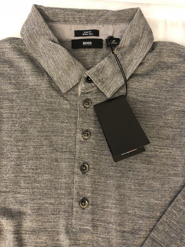 NWT $215 BOSS Hugo Boss T-Morrison 1 Slim Fit Long Sleeve Gray Wool/Silk Shirt L